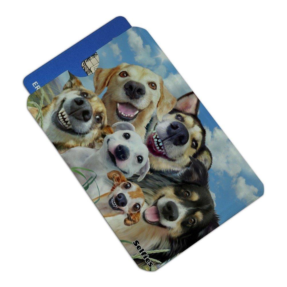 Dogs Smile Selfie Retriever German Shepherd Credit Card RFID Blocker Holder Protector Wallet Purse Sleeves Set of 4