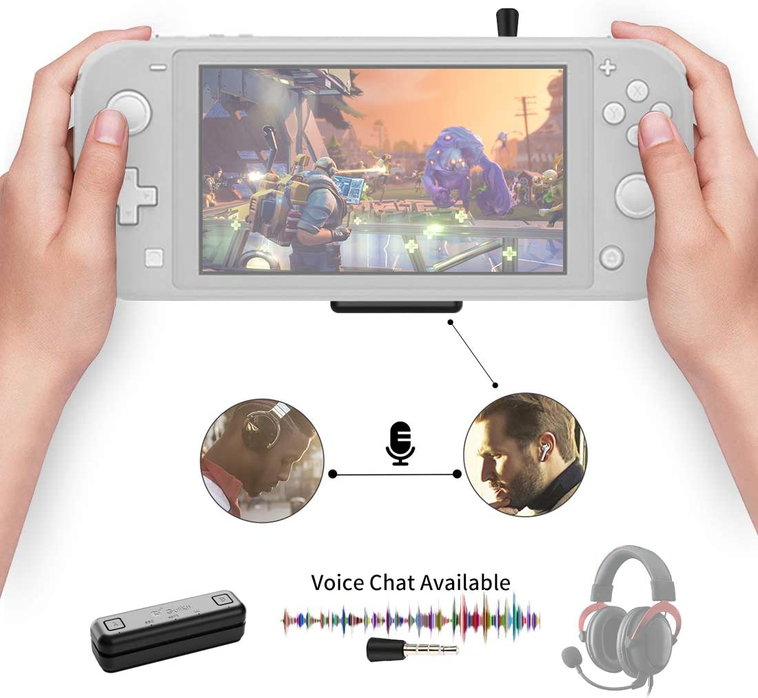 Gulikit Route Air Pro Bluetooth Adaptador Compatible para Nintendo Switch & Lite, PS4/PC, En Juego Voz Chat Soporte w/APTX Baja Latencia Wireless Audio Transmisor para Airpods Inalámbrico Auricula