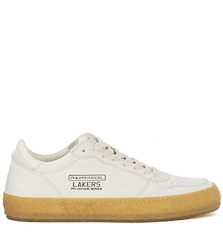 Bianca Pelle Philippe Con Oro Logo Vintage In Model Sneaker Lakers wxYU7qF