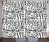 Ambesonne Casino Decorations Collection, The Dices Close Up Abstract Monochromatic Chaotic Crowded Gaming Houses Print, Living Room Bedroom Curtain 2 Panels Set, 108 X 90 Inches, Gray and Black