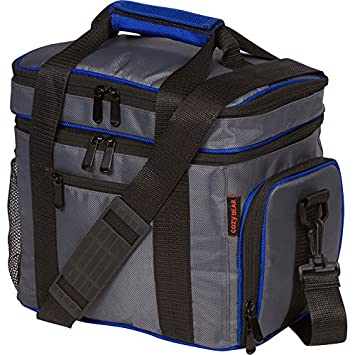 Insulated Cooler Lunch Bag - Multiple Storage Pockets - For Work and Family Outings by Cozy Bear (Gray with Blue Trim)