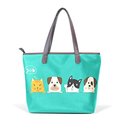 77691cc5074 Image Unavailable. Image not available for. Color: Funny Dog And Cute Cat  Best Friends Fashion PU Leather Handle Handbag Shoulder Purse Large Capacity
