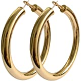 18K Gold Polished Fashion High-profile Big Hoop Earrings with Omega Backs (LARGE)