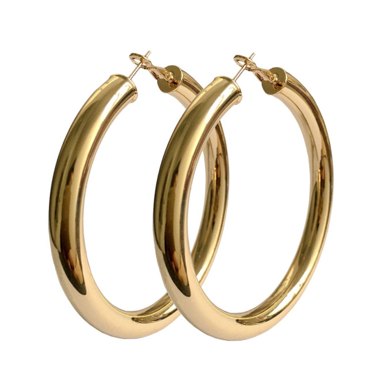 STAYJOY 18K Gold Polished Fashion High-profile Big Hoop Earrings with Omega Backs (LARGE)