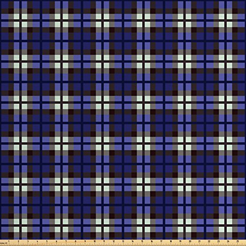 Navy Blue Decor Fabric by the Yard by Ambesonne, Scottish Themed Kilt Skirt Pattern Squares Checkers Design, Decorative Fabric for Upholstery and Home Accents, White Blue Grey and - Scottish Table Kilt