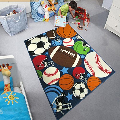 Ustide Fashion Basketball/Football Boys Rugs Cool Sports Floor Mat Carpet for Home Decor 3.2x4.2 ft - Football Sports Rug