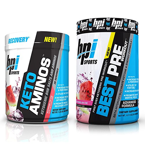 BPI Sports Keto Aminos and Best Pre-Workout Watermelon Ice (30 Servings Each) Weight Loss and Muscle Building Stack - 30 Servings Each