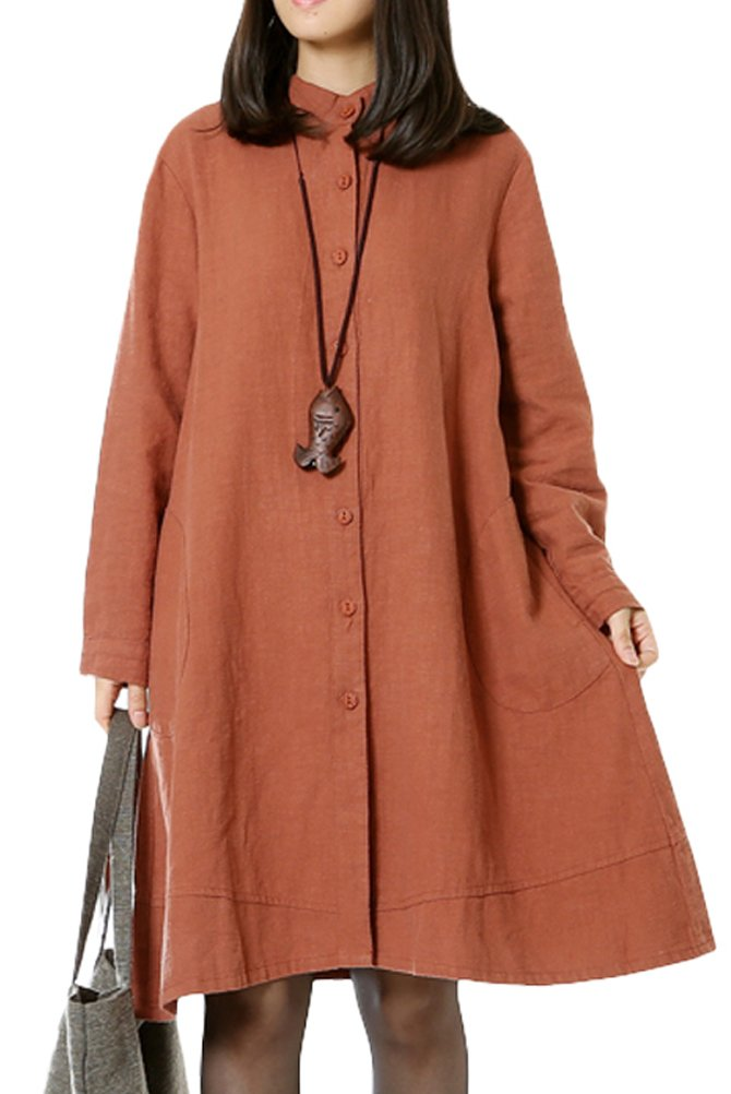 Mordenmiss Women's Cotton Linen Full Front Buttons Jacket Outfit with Pockets (Medium, Style 1-Orange Red)