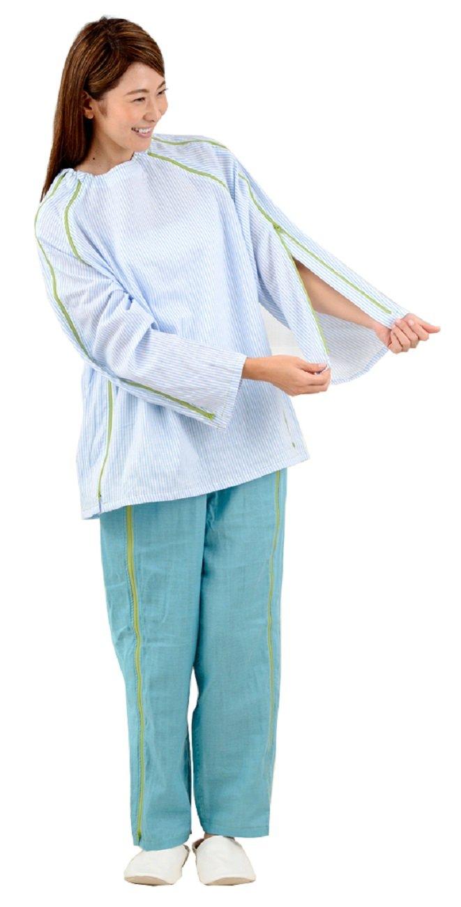 【長袖上同色2枚セット】入院介護に前開きWジップパジャマ 『点滴したまま着がえるパジャマ』 B071W15K8C L ストライプブルー×2枚 ストライプブルー×2枚 L