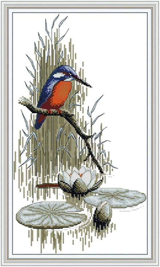 CaptainCrafts New Stamped Cross Stitch Kits Preprinted Pattern Counted Embroidery Starter Kits for Beginner Kids and Adults Counted 11CT Birds by The River