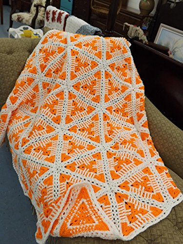 (Orange and White Lap Throw, Blanket, Afghan, Hand Crocheted, Original Pattern)
