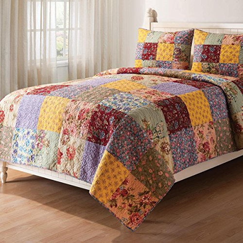 3 Piece Beautiful Vintage Gold Red White Green Blue Pink Full Queen Quilt Set, Floral Patchwork Themed Reversible Bedding Rose Cottage French Country Rustic Pretty Flower Boho Bohemian Striped, Cotton by OSK