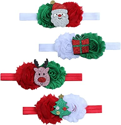 ZOONAI Baby Girl Christmas Headbands Infant Flower Bow Hair Bands Accessories
