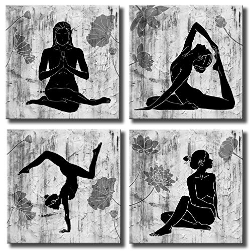 KLVOS 4 Piece Framed Black and White Yoga Painting Poster Zen Life Canvas Prints Picture with Lotus Flower Contemporary Wall Art Modern Home Decoration Girl Gift 16