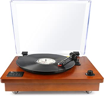1byone Belt Driven Bluetooth Turntable w/ Built-in Speaker