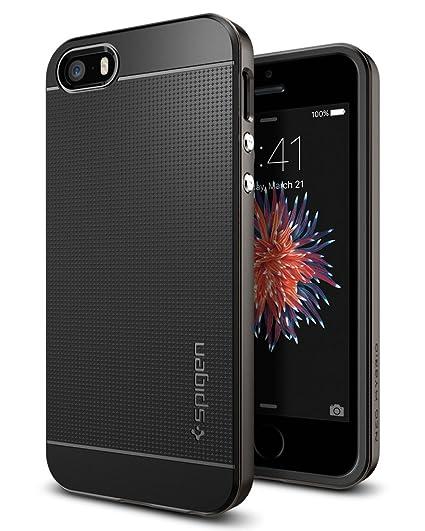 iPhone SE Hülle, Spigen® iPhone 5S/5/SE Hülle [Neo Hybrid] Doppelschichter Schutz [Gunmetal] 2-teilige Premium Handyhülle Sch