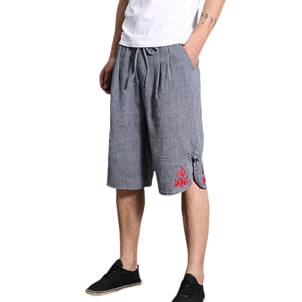 Cotone e Lino Ricamo Pantaloncini Uomo,Coulisse Boxer Pantaloncini Corti Pantaloni da Pigiama Biancheria da Notte Cintura Elastica Registrabile Sportivi per Jogging Causal,M-2XL