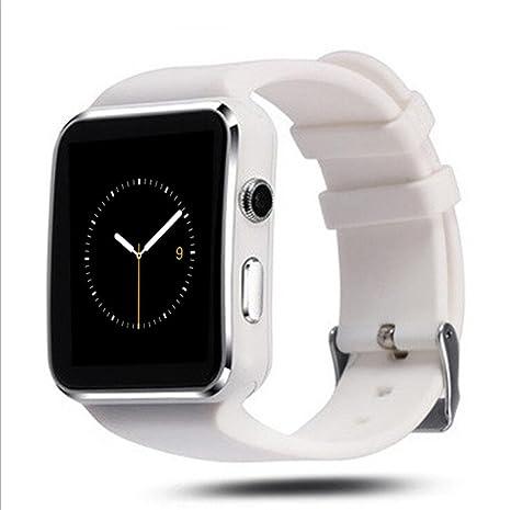 glorrt curvada mate SIM X6 Bluetooth Smart muñeca reloj teléfono para Android IOS Samsung, Blanco