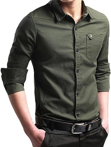 Mens Autumn Casual Cargo Button Slim Camisa De Vestir Mode De ...