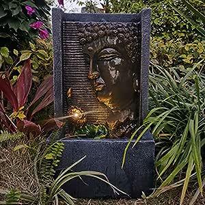 FLJZCZM Water Fountains Indoor Waterfalls Buddha Tabletop with Light Coast Collection Decoration Garden Art Golden 20.86Inch