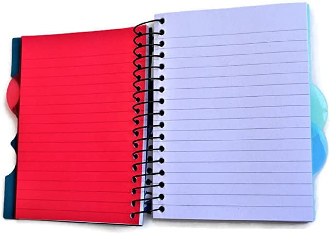 4-Subject Small Mini Spiral Notebooks with Plastic Covers 4-ct Set