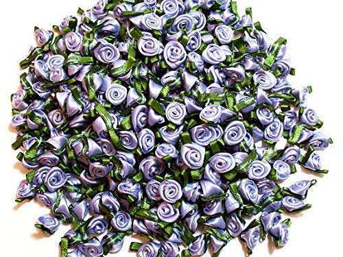 Designer Fabric - Wisteria Rose Flower Appliques, Small Satin Flowers x 10 Pieces Moss Leaf - Clothing & Fashion Apparel Trimmings
