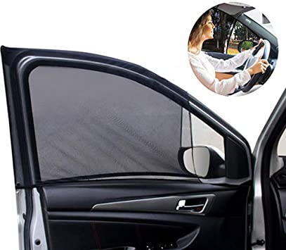 Amazon Com Front Car Window Sunshade 2 Pack Breathable Mesh Car Side Window Shade Sunshade Uv Protection For Driver Family Pet On Front Seat Car Curtain See Rearview Mirror Fit For Most 95