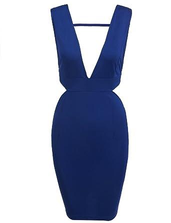 e3ed5f3656385 Zeagoo Women's Sexy Deep V-Neck Sleeveless Backless Cut Out Bodycon ...