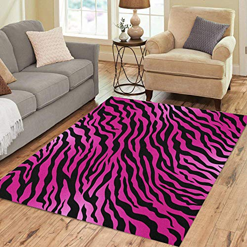 (Semtomn Area Rug 2' X 3' Orange Tiger Pink Animal Skin Zebra Pattern Black Wild Home Decor Collection Floor Rugs Carpet for Living Room Bedroom Dining Room)