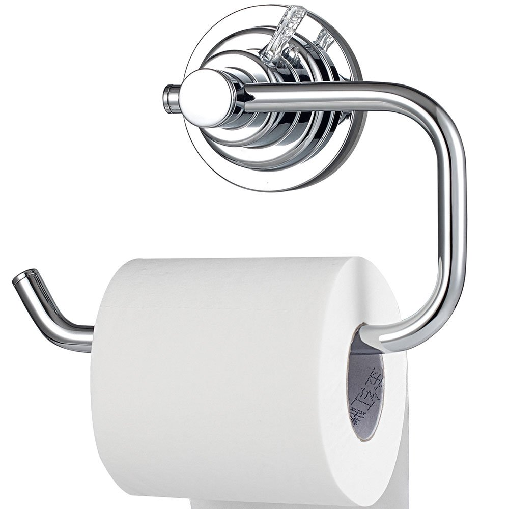 BOPai Modern Vacuum Suction Cup Toilet Paper Holder,Removable Bracket for Bathroom Kitchen.Chrome by BOPai