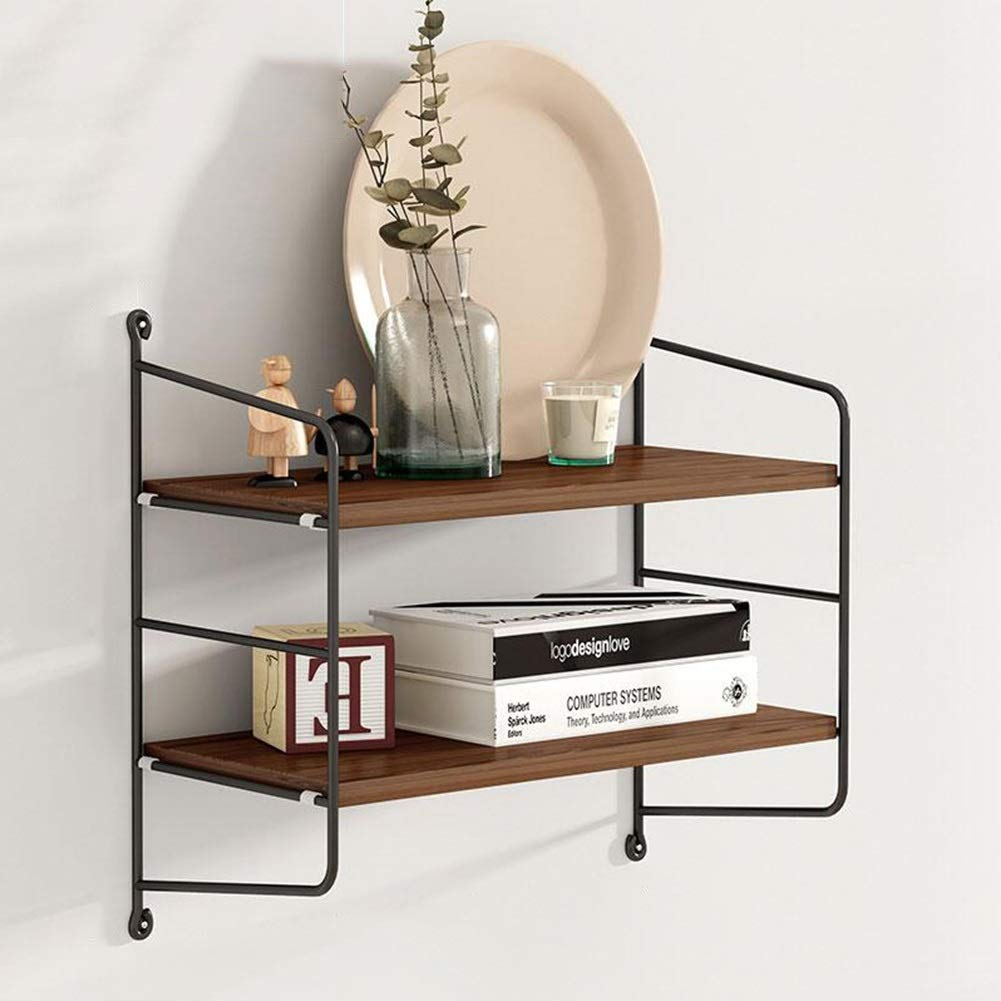 Bookcases Storage Shelf, Wall Wrought Iron Wooden Board Wall Hanging Living Room TV Wall Punch-Free Partition Yixin (Color : A, Size : 402040cm)