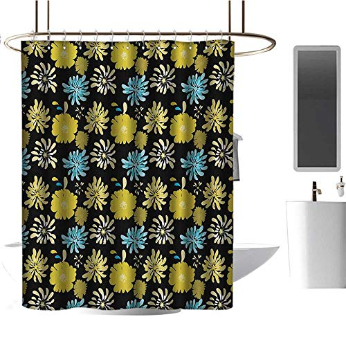- Qenuan Shower Curtain for Bathroom Floral,Jasmine Daisy Peony Spider Mum Spray Different Flower Types Bouquet,Yellow Blue Charcoal Grey,Design Waterproof Fabric Bathroom Shower Curtain 54