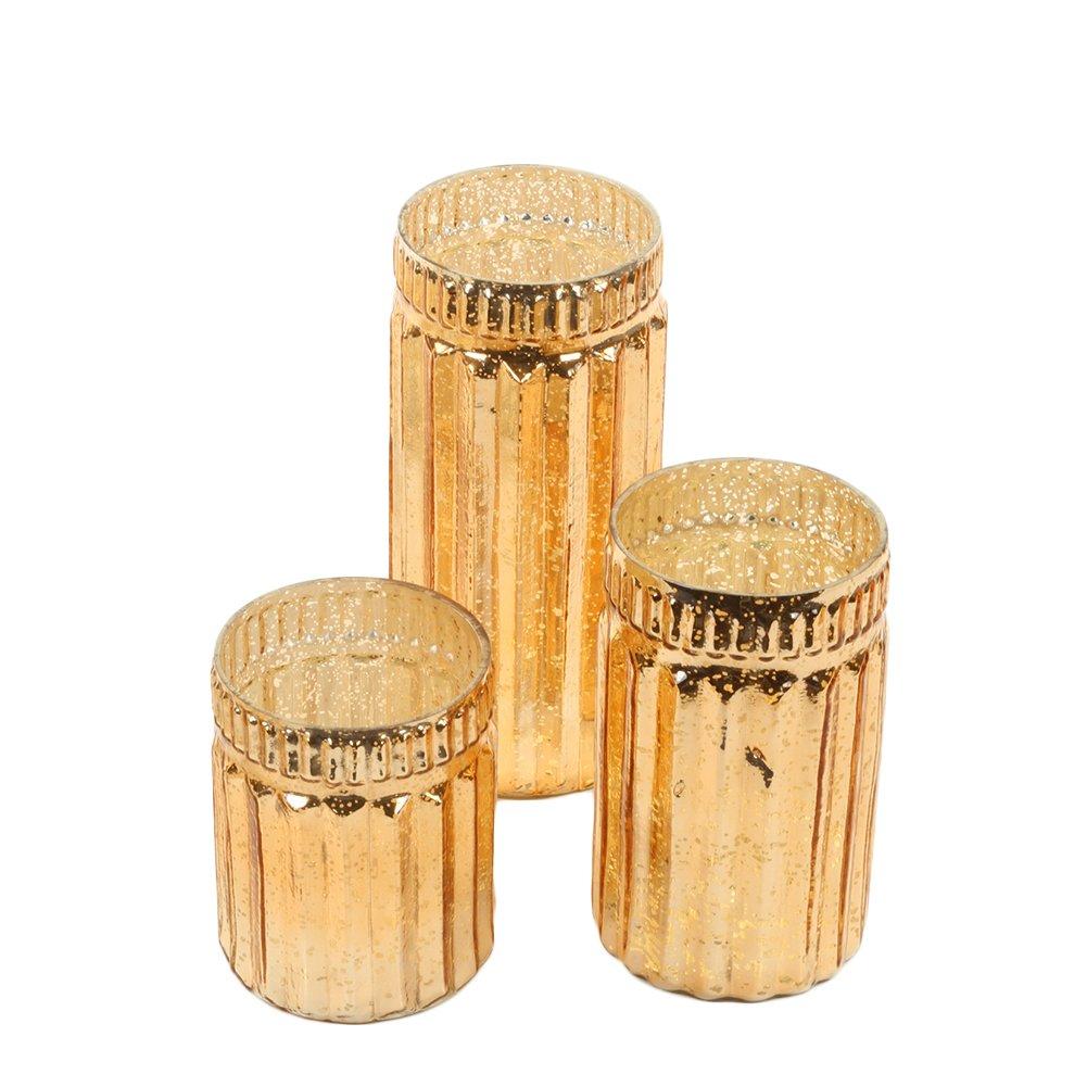 Koyal Wholesale Ribbed Mercury Glass Vases, Bulk Set of 3, Mercury Vases for Flower Centerpieces, Centerpiece Jars for Candle Votives, Centerpiece Arrangements, Indoor Outdoor Bud Vases (Rose Gold)