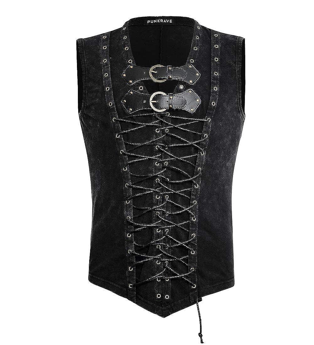 Punk Rave Mens Black Rock Cotton Front Strap Sleeveless Vest T-Shirt Casual Tank Tops