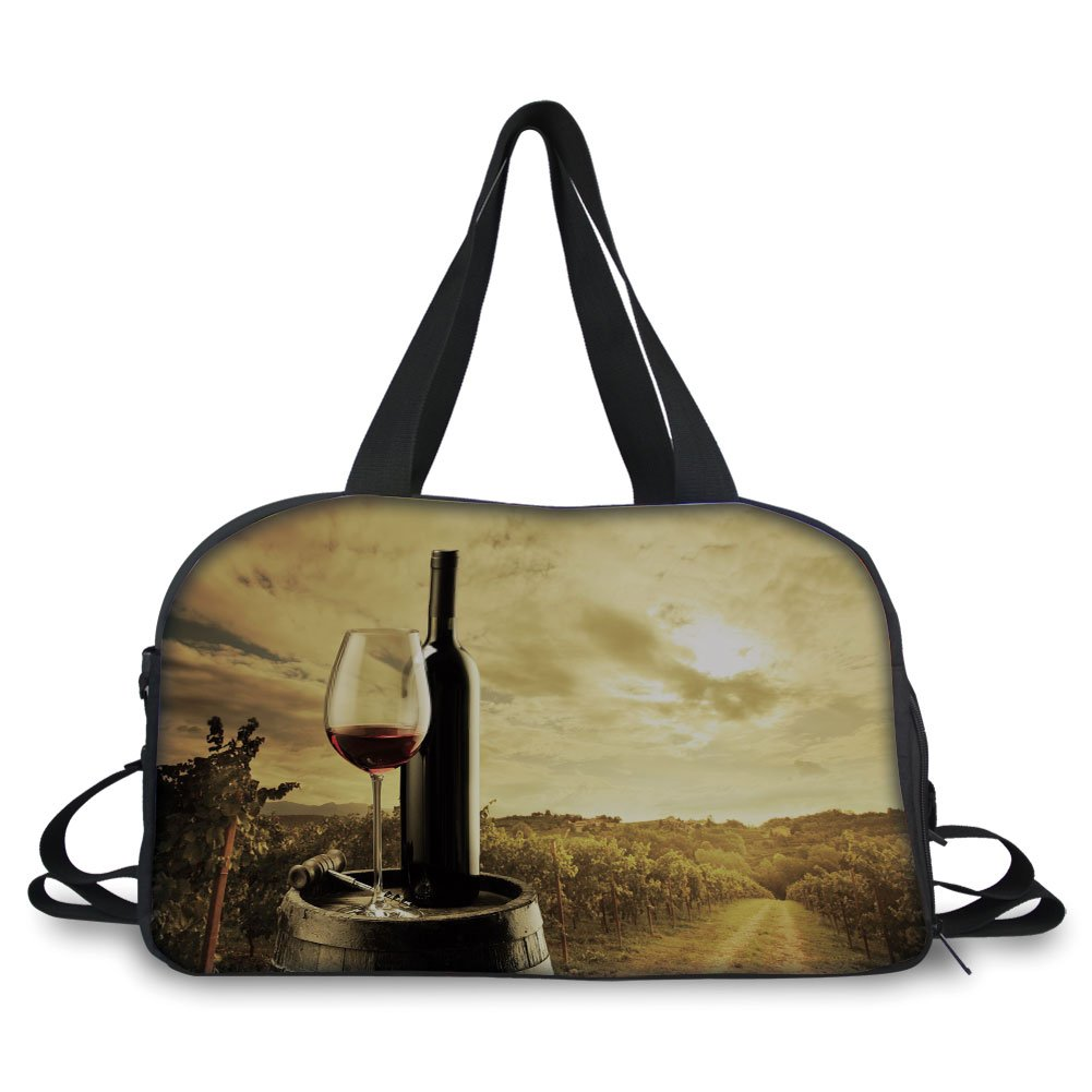 iPrint Travel handbag,Wine,Red Wine Bottle and Glass on Wooden Barrel Dramatic Sky Agriculture Decorative,Light Coffee Green Black ,Personalized