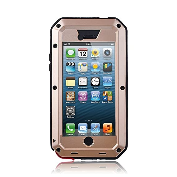 quality design b3c1e 4bcf4 iPhone 5S Case,Gorilla Glass Luxury Aluminum Alloy Protective Metal Extreme  Shockproof Military Bumper Heavy Duty Cover Shell Case Skin Protector for  ...