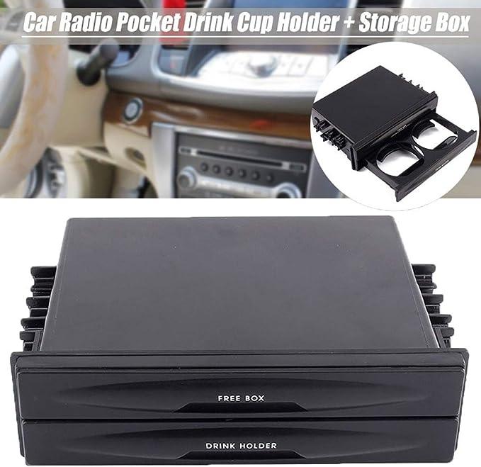 Organizador de coche para asiento trasero, doble bolsillo para radio Din para auto, portavasos de plástico, organizador de caja de almacenamiento: Amazon.es: Hogar