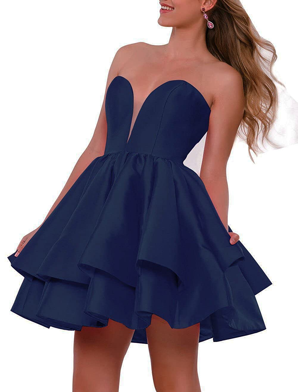 Navy bluee JQLD Women Strapless Short Homecoming Dresses Ruffles Satin Prom Gown Formal with Pocket