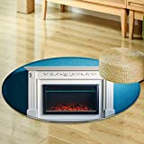 Small round rug Carpetblack electric fireplace with decoration photographed in the interior door mat indoors Bathroom Mats Non Slip-Round 63''