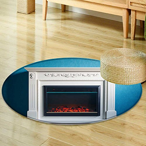 Small round rug Carpet black electric fireplace with decoration photographed in the interior  door mat indoors Bathroom Mats  Non Slip -Round 63'' by SCOCICI1588