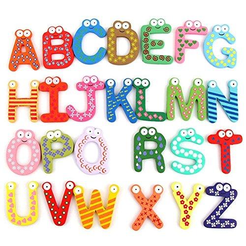 hibote Jouets en bois 26 pcs alphabet avec aimants, bois ABC Toddler, prématernelle et en maternelle Puzzle Toy