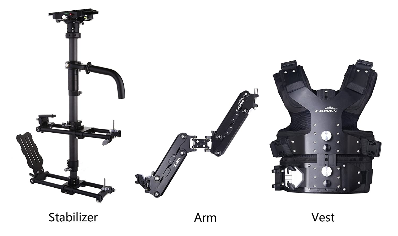 Laing m30piiプロフェッショナルビデオスタビライザー9.9 – 33lbロード容量for DSLR DVカメラ(ベスト+ダブルハンドルアーム+カーボンファイバースタビライザー)   B01H8V9PTA