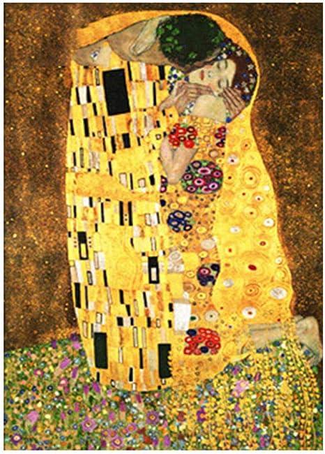 Fddpt Diy Pittura Bacio Klimt Dipingere Con I Numeri Adulti Per Bambini Tela Kit 40x50cm Amazon It Casa E Cucina
