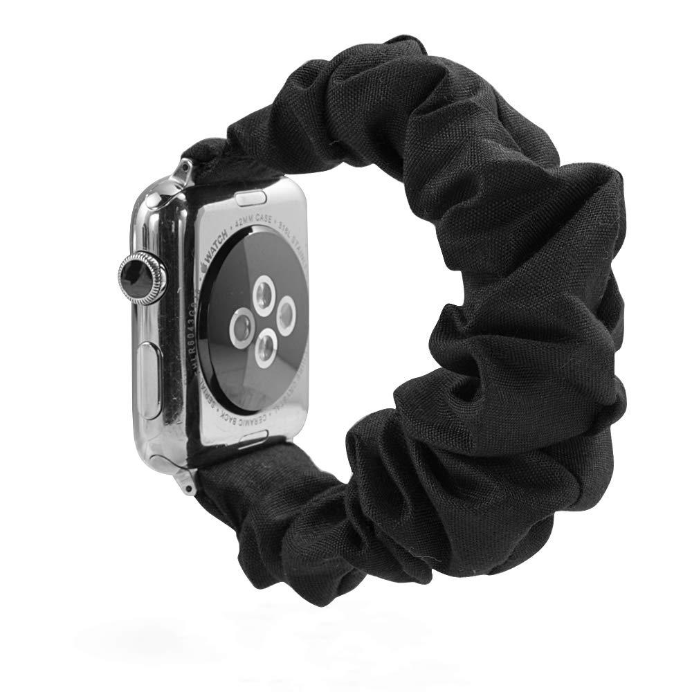 BSEKT Scrunchie Watch Band, Compatible with Apple Watch Series 1 2 3 4 5, Size 38mm 40mm 42mm 44mm, Elastics Wristbands for Smart Watch, Comfortable Sport Band for Women Men (42mm/44mm, black)