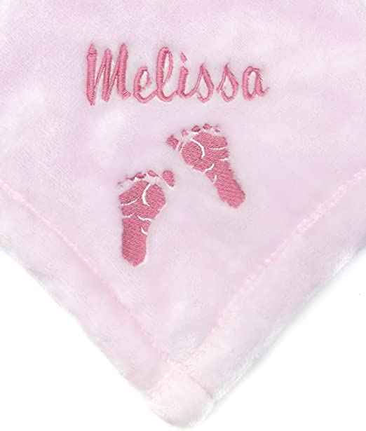 Personalised Baby Boy Blanket  Blue Footsteps  New Baby// Birth//Christening Gift