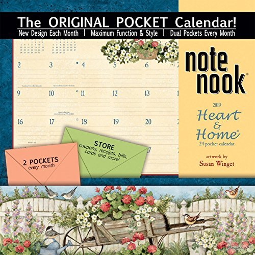 Wells St. by Lang - 2019 Note Nook Organizational Wall Calendar -Heart and Home Artwork by Susan Winget- 24 Storage Pockets - 12 Months - 11 3/4 x 13 1/4 (Note Nook Wall Calendar)