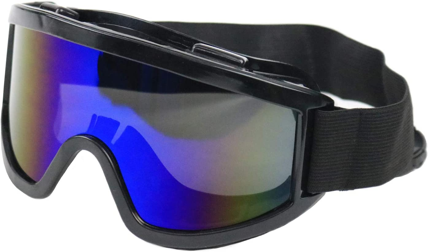RK Safety RK-GG203 Heavy duty Industrial Protective Indirect Vent Wide-Vision Safety Goggles, Glasses | Crystal Clear, Anti-Fog Design, High Impact Resistance (Blue MIRROR)
