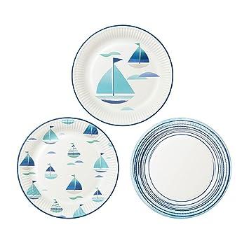 Talking Tables Platos Coastal en 3 diferentes diseños de motivo de barco. Azul