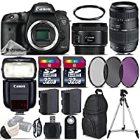 Canon EOS 7D Mark II DSLR Camera + 50mm 1.8 STM Lens + 70-300 Di LD Macro Lens + Canon Speedlite 430EX III RT + 64GB Storage + Backup Battery + UV-CPL-FLD Filters + UV - International Version