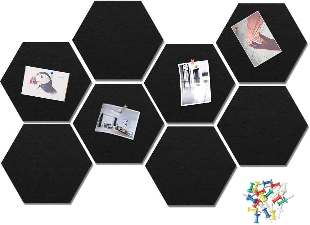 10 Packs Felt Hexagon Tile Board Cork Board for Wall Decor Self Adhesive Wall Bulletin Boards for Notes,Pictures,Photos,Memo, Office and Home Decor